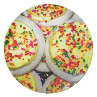 Yellow Iced Sugar Cookies w/Sprinkles Dinner Plate