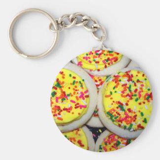 Yellow Iced Sugar Cookies w/Sprinkles Key Chain