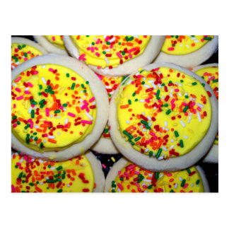 Yellow Iced Sugar Cookies w Sprinkles Post Card
