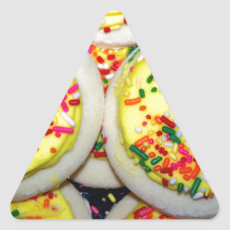 Yellow Iced Sugar Cookies w/Sprinkles Triangle Sticker
