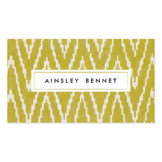 Yellow Ikat Chevron Patterned Business Cards