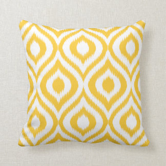 Yellow Ikat Classic Geometric Ethnic Print Cushion