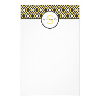 Yellow Ikat Monogram Stationery