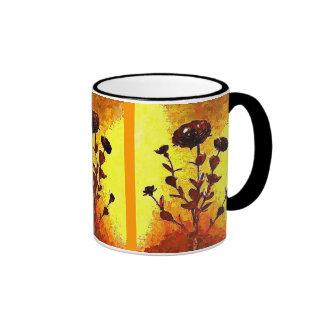 Yellow Impressionist Medieval Flower Art Ringer Mug