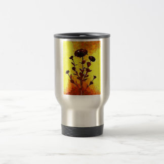 Yellow Impressionist Medieval Flower Art Stainless Steel Travel Mug