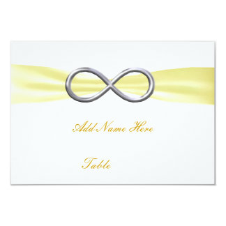 """Yellow Infinity Wedding Table Place Card 3.5"""" X 5"""" Invitation Card"""