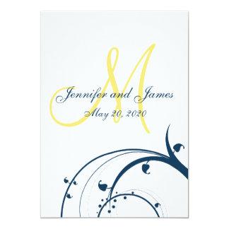 Yellow Initial, Blue Swirls Wedding Invitation
