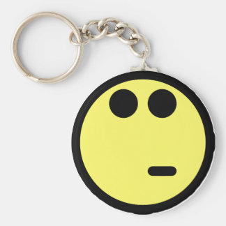 Yellow Inquisitive Smiley Face Basic Round Button Key Ring