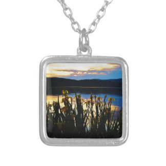 Yellow Iris at Lake Arrowhead shore Square Pendant Necklace