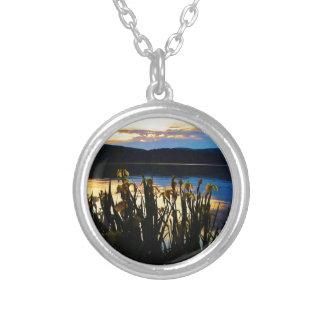 Yellow Iris at Lake Arrowhead shore Round Pendant Necklace