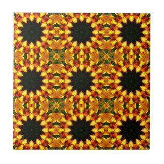 Yellow Iris, Floral mandala-style 04.0 Tile