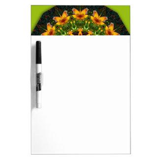 Yellow Iris, Floral mandala-style Dry Erase Whiteboards