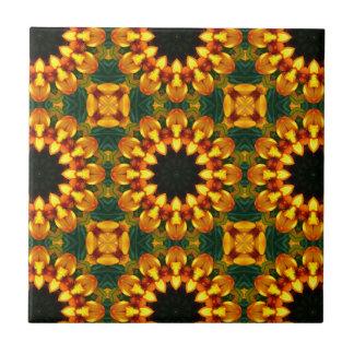 Yellow Iris, Floral mandala-style Tile