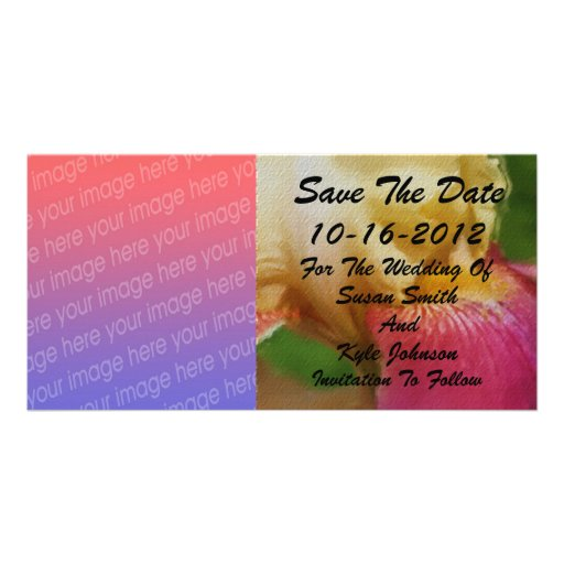 Yellow Iris Floral Photo Wedding Save Date Personalized Photo Card