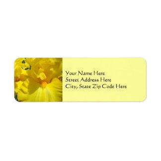 Yellow Iris Flowers Address Label stickers Floral