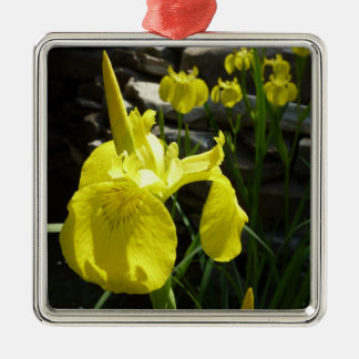 Yellow Irises Bright Floral Christmas Ornament