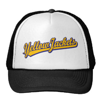 Yellow Jackets script logo in orange and blue Mesh Hats