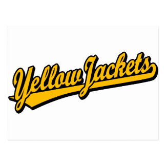 Yellow Jackets script logo in orange Postcard