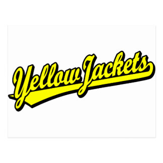 Yellow Jackets script logo in yellow Post Card