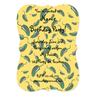 Yellow jalapeno peppers pattern 13 cm x 18 cm invitation card