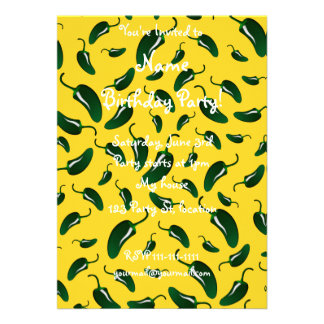 Yellow jalapeno peppers pattern card