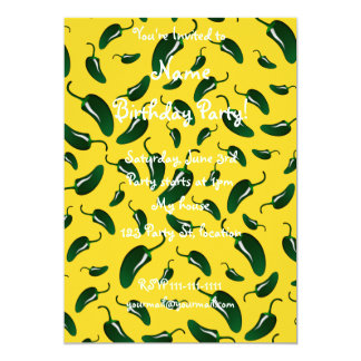 """Yellow jalapeno peppers pattern 5"""" x 7"""" invitation card"""