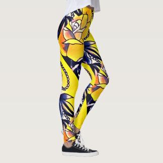 yellow jewel roses leggings