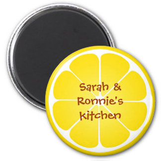 Yellow juicy lemon slice round magnet party favor