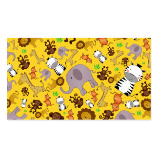 Yellow jungle safari animals business card templates