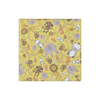 Yellow jungle safari animals stone magnet
