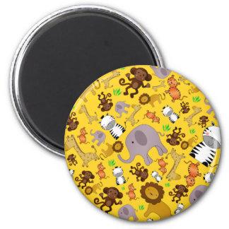 Yellow jungle safari animals refrigerator magnets