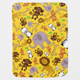 Yellow jungle safari animals pram blanket