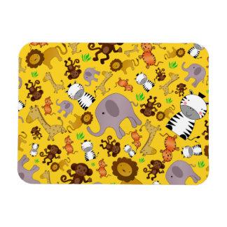 Yellow jungle safari animals rectangle magnet