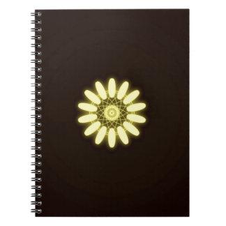 Yellow Kaleidoscope On Black Background Notebook