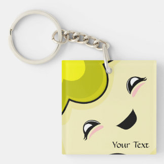 Yellow Kawaii Tickle Monster Double-Sided Square Acrylic Key Ring