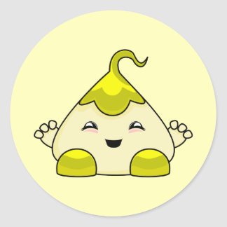 Yellow Kawaii Tickle Monster Round Sticker
