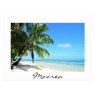 Yellow kayak on Moorea beach white text postcard