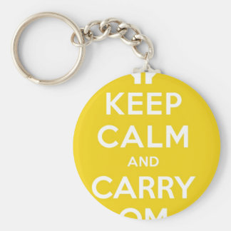 Yellow Keep Calm And Carry Om Basic Round Button Key Ring