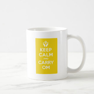 Yellow Keep Calm And Carry Om Basic White Mug