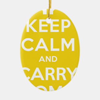 Yellow Keep Calm And Carry Om Ceramic Oval Decoration