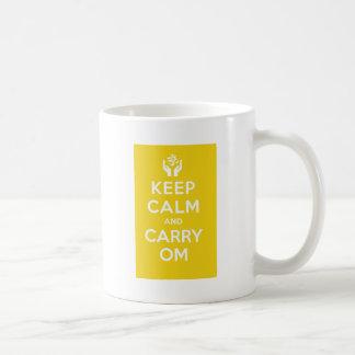 Yellow Keep Calm And Carry Om Coffee Mug