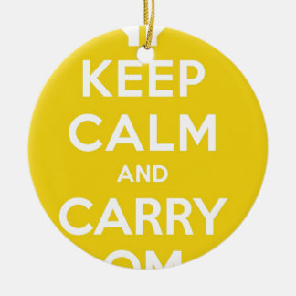 Yellow Keep Calm And Carry Om Round Ceramic Decoration