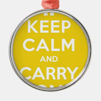 Yellow Keep Calm And Carry Om Silver-Colored Round Decoration