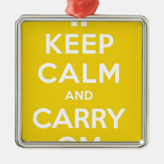 Yellow Keep Calm And Carry Om Silver-Colored Square Decoration