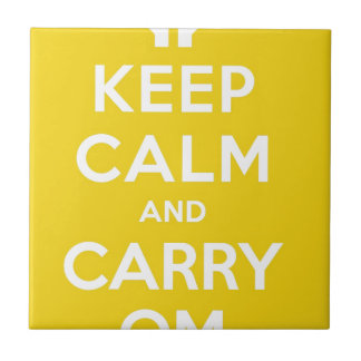Yellow Keep Calm And Carry Om Small Square Tile