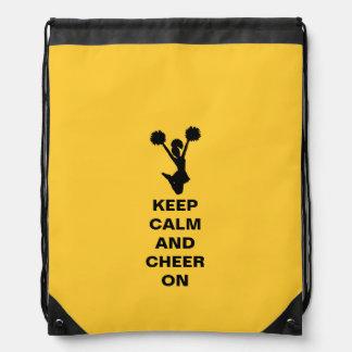 Yellow Keep Calm Cheerleader Drawstring Backpack