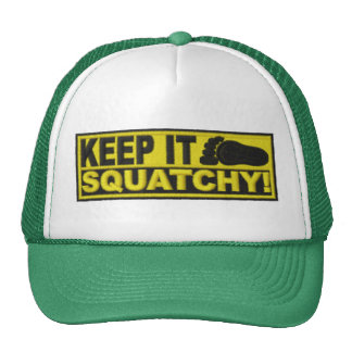 Yellow KEEP IT SQUATCHY embroidered-look print Hat