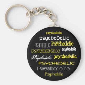 Yellow key-ring Psychedelic Text Key Ring