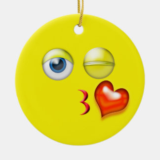 Yellow Kiss Emoji Custom Name Christmas Ornament