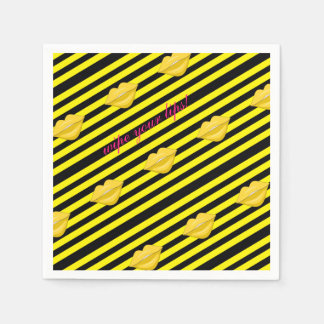Yellow kiss lips black stripes paper napkins